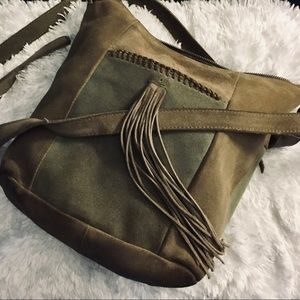 Large Lucky Brand taupe satchel bag